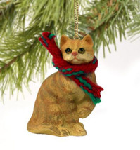 SHORTHAIRED RED TABBY CAT CHRISTMAS ORNAMENT HOLIDAY Figurine kitten gift - $9.50