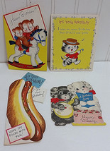 Vtg Birthday Card Lot Norcross Rust Craft American Greeting Cat Dog Bear... - $33.37