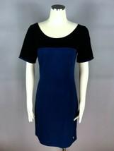 JUICY COUTURE Black Blue Color Block Golden Zipper Back Stretch Dress Si... - $34.64