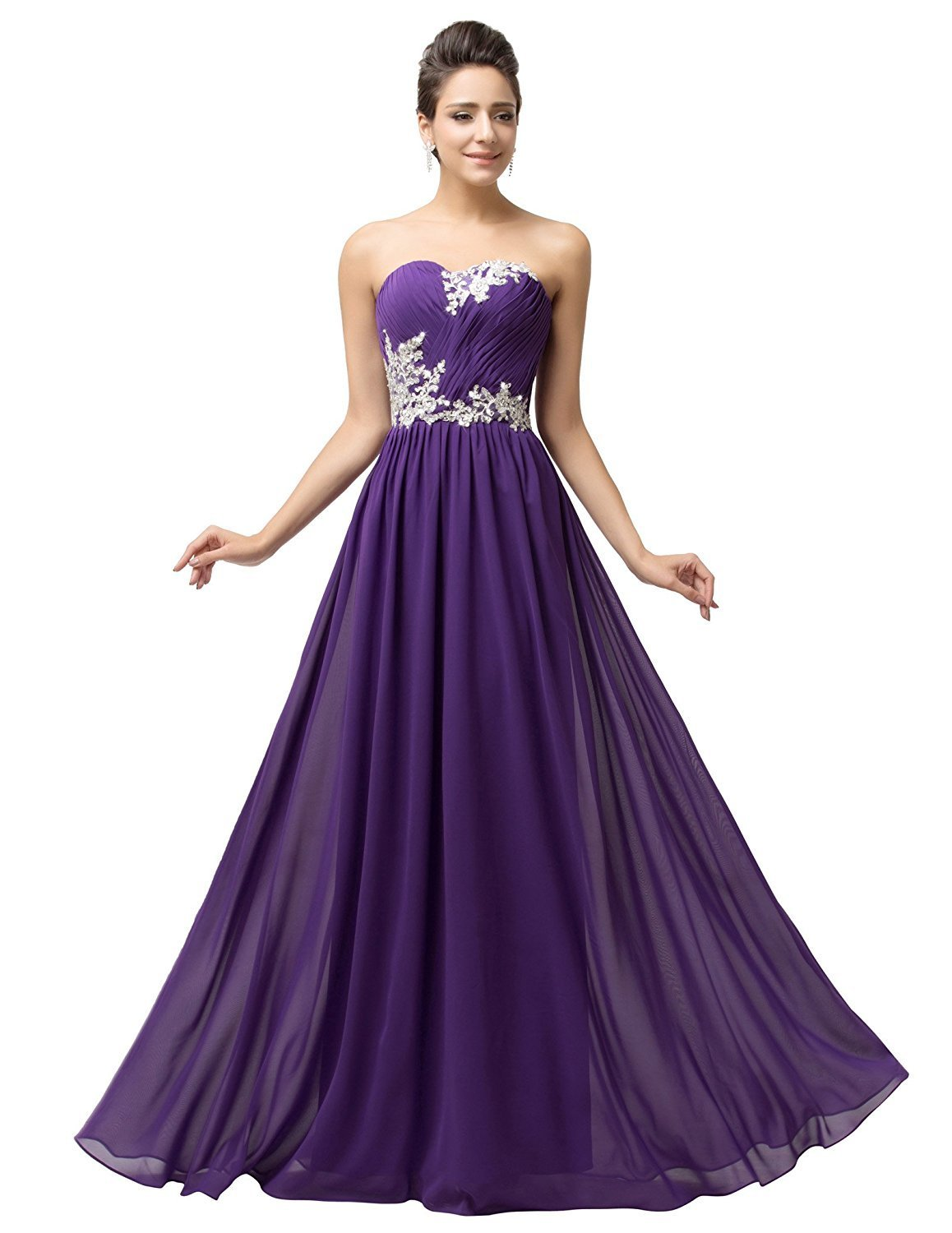 2018 Strapless Evening Dress Appliques Purple Chiffon Long Prom Dress Party Gown