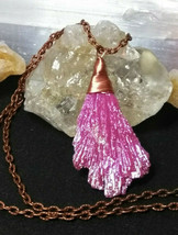 Titanium Quartz Pendant Necklace Copper Wire Wrapped Bright Pink Copper ... - $6.93