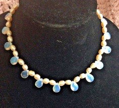 Opalite or Moonstone Briolette Beads with Lt .Pink Baroque Pearls Neckla... - $21.78