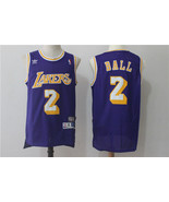 Men's Los Angeles Lakers #2 Lonzo Ball Jersey Throwback purple Stitched.jpg - $26.66