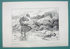 SEASHORE Rocks Sea Giving Its Dead - 1901 Offset Litho Print - $8.55