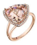 14K Rose Gold 5.50 Carat Trillion Cut Morganite Ring - $1,250.99