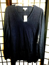Maison Jules Junior's Navy Blue Sweater Split Side V Neck Size M, NWT, F... - $16.99