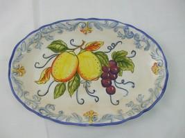 Italian Fruit Tuscan Style Platter Scalloped Edge Lemons Grapes Blue Yel... - $28.95