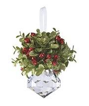 Ganz Kissing Krystal Acrylic Christmas Mistletoe Ornament with Hanger - $8.42