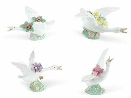 Lladro Lot of 4 Ducks with Flowers 8493 / 8494 / 8495 / 8496 Porcelain New - $600.00