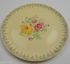 Homer Laughlin China Decorative Plate Yellow Gold Trim & Floral Pattern ... - $19.99