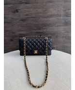 NWT AUTHENTIC CHANEL BLACK QUILTED CAVIAR MEDIUM CLASSIC DOUBLE FLAP BAG... - $5,688.00