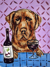 animal Art oil painting printed on canvas home decor Labrador wine   - $14.99+