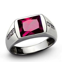 Mens Ring with RED RUBY with 8 DIAMOND Accents in Solid Sterling Silver ... - $194.00