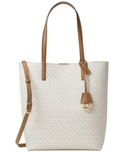 Michael Kors Signature Hayley Large North South Tote in Vanilla/Acorn - $178.19