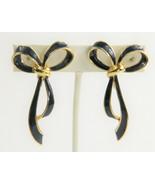 VINTAGE Jewelry SIGNED PEP UNUSUAL NAVY BLUE ENAMEL BOW FIGURAL EARRINGS  - $10.00