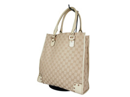 Auth GUCCI GG Pattern Canvas Leather Browns Tote Bag GT2086 - $219.00