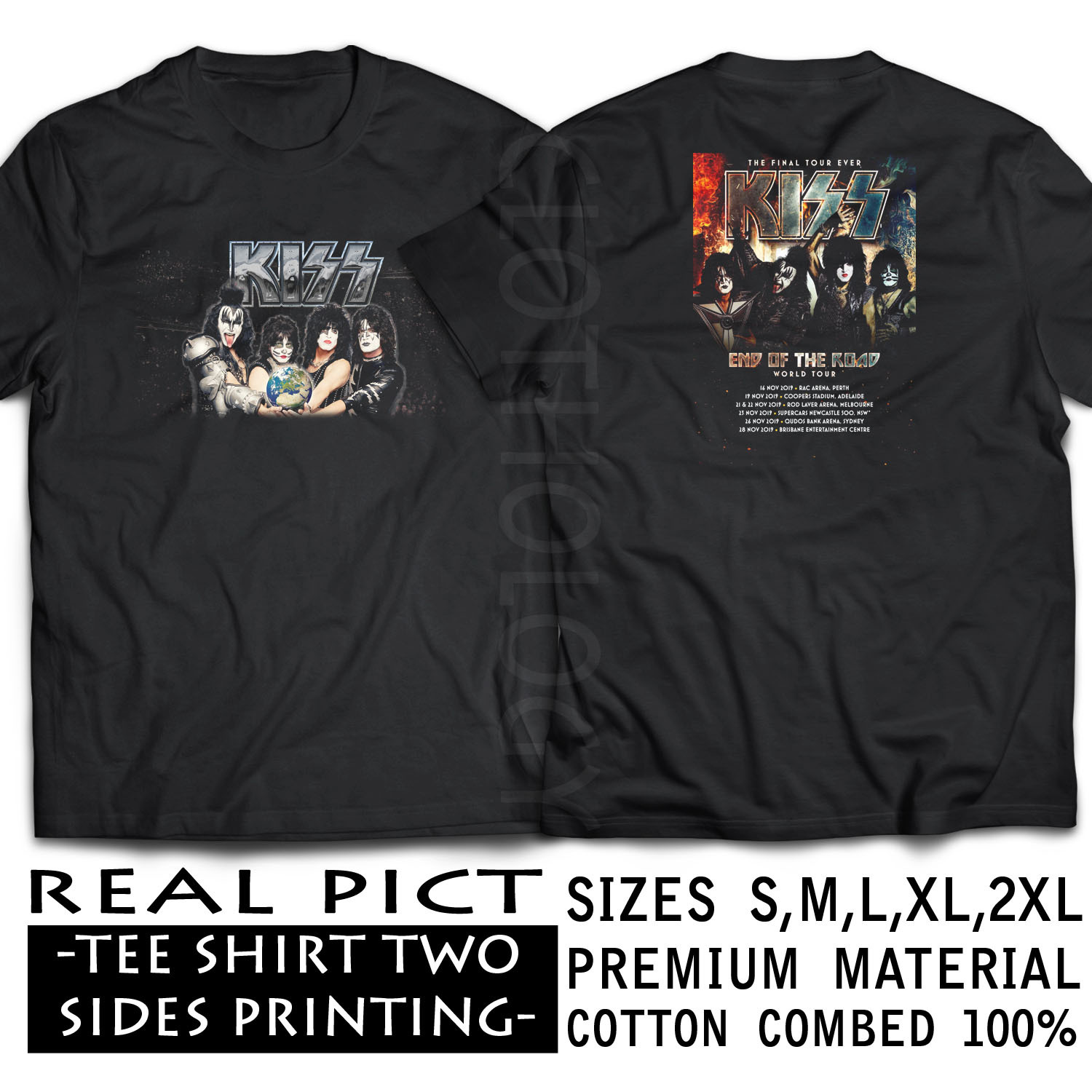SHIRT TSHIRT KISS END OF THE ROAD TOUR 2019 BLACK PREMIUM  S-2XL SIZES RAIN13