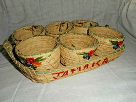Vintage 7 pc Jamaica Souvenir 1 Rattan Woven Tray With 6 Woven Cup NEW O... - $27.71