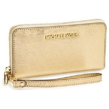 Michael Kors Large Jet Set Bark Embossed Patent Smartphone Wallet Gold w... - £66.16 GBP