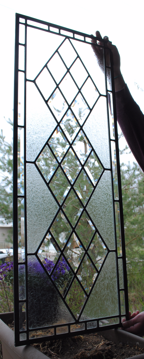Stained Glass Window, Antique Beveled Restored with clear glue chipped glass