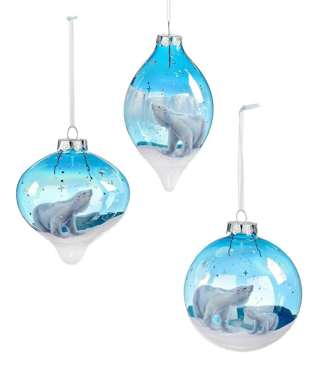 Set of 3 Polar Bear Painted Glass Ornaments - Inspired by Northern Lights