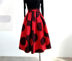 RED Winter Pleated Skirt Women Red Polka Dot Skirt Christmas Outfit Plus Size  image 8