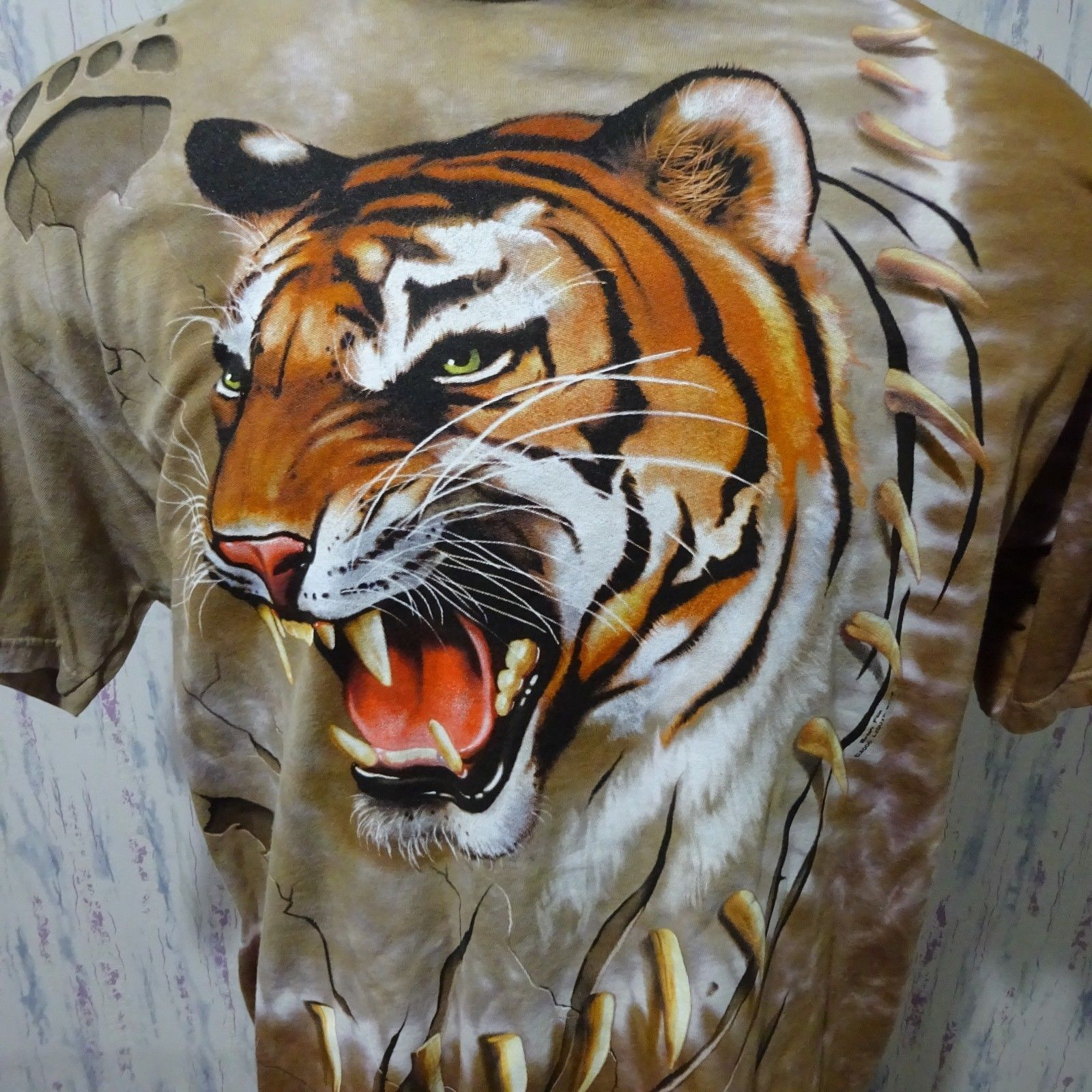 Primary image for  Liquid Blue 2000 Tan Double Sided Tiger All Over Mens Graphic T Shirt XL