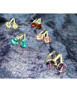 Earrings hoop Purple blue clear pink or red  CZ Solitaires silver - $18.00
