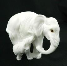 "White Marble Elephant and Baby Artmark 4.5"" H Italy - $18.80"