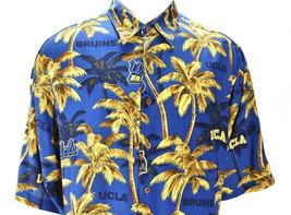 Reyn Spooner Sports UCLA Bruins Casual Hawaiian Shirt Palm Tree Blue Gol... - $98.95
