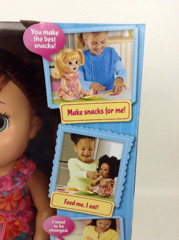 Baby Alive Super Snacks Snackin Sara Brunette Doll Talks Eats Wets 2015 Hasbro image 3