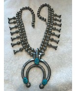 HBC Squash blossom necklace silver turquoise Navaho 14 flowers 27 inch - $1,424.89