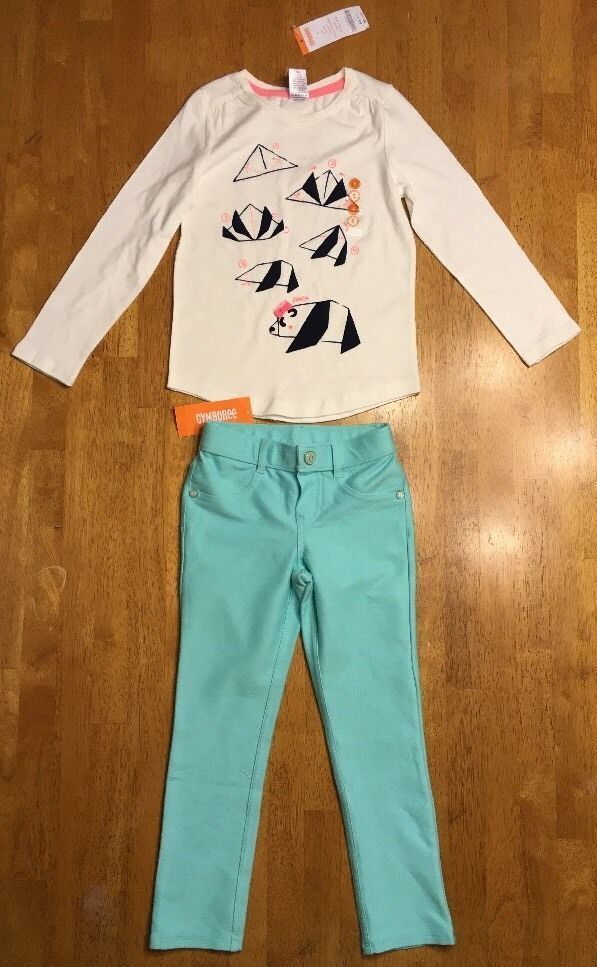 NWT Gymboree Girl's White Panda Origami Shirt & Teal Jeggings Outfit - Size: 5