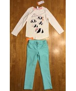 NWT Gymboree Girl's White Panda Origami Shirt & Teal Jeggings Outfit - S... - $17.81