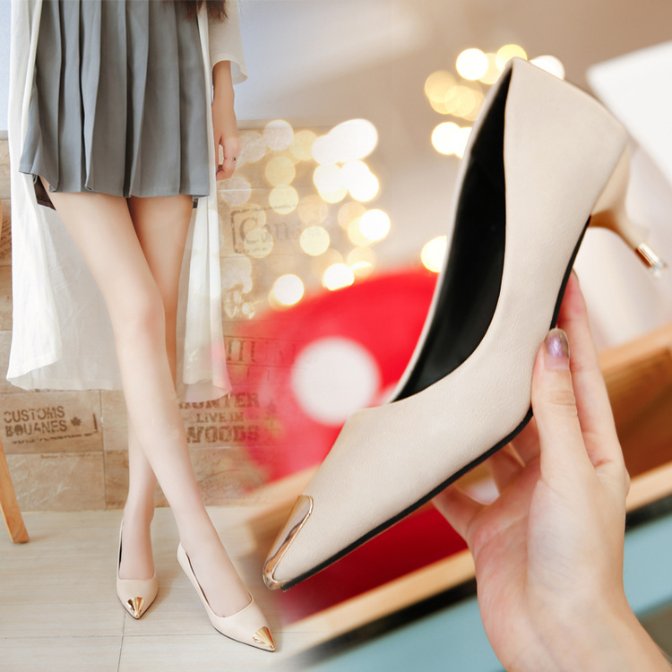 Primary image for pp373 Cute sharpy pump w gold plating in head & heels, US Size 5-9 beige