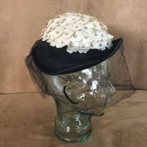 Vintage black white fabric flowers veil netting hat cloche 1950s wedding - $42.50