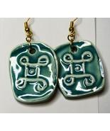 Original Luanne Simpson Hand Made Ceramic Art Earrings Green Mandala Fas... - $14.24