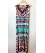 New Sleeveless Summer Long Maxi Dress Aztec Beaded Sz Med Boho Southwestern - $30.48