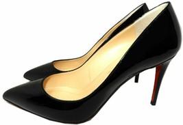 Christian Louboutin Decollete Pointy Toe Pumps Black Patent Leather Shoe... - $369.99