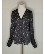 Veronica Beard Womens Floral Silk Top Blouse Button Up Cinched Sleeve Bl... - $49.95