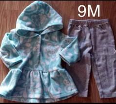 Girl's Size 9m 6-9 Months Two Piece Carter's Blue Fleece Floral Top, Leggings - $16.00