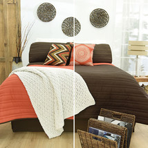 Orange and Brown Chedron Slim Reversible Comforter Set 2-3 Pieces - £25.70 GBP+