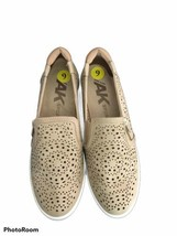 Anne Klein Tan White Patent Slip On Loafers Womens Shoe Size 9 Driving Zipper  - $27.70