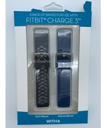 WITHit 2 Pack Of Bands For Fitbit Charge 3 - Black & Gray Sport & Blue S... - $12.74