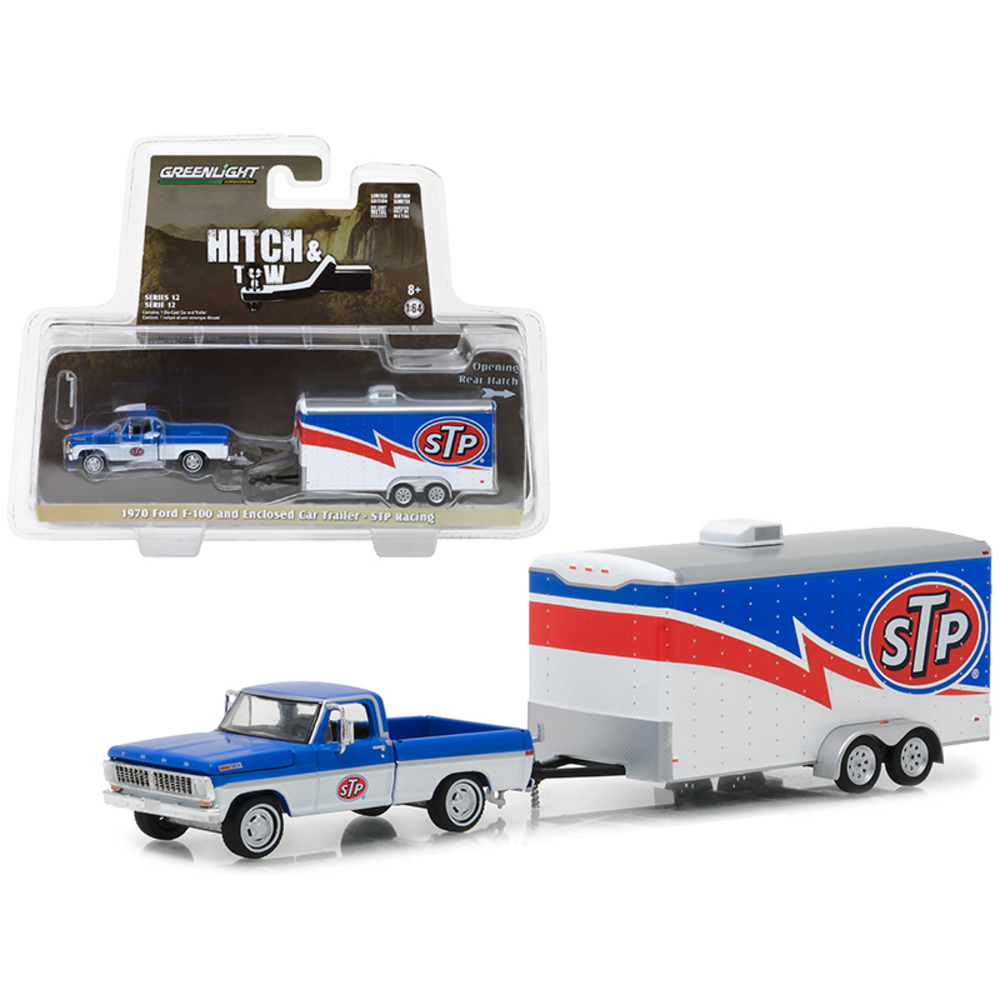 1970 Ford F-100 and Enclosed Car Trailer STP Racing Hitch & Tow Series 12 1/64 D