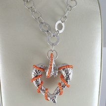 Necklace Silver 925 with Pendant Big Heart Milled and Carnelian, Chain Rolo ' image 2