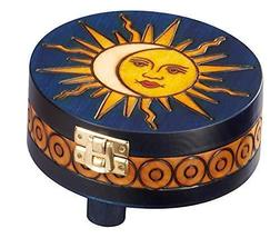 Sun Moon Round Box Polish Wooden Decorative Box Trinket Handmade Wood Keepsake - $29.69