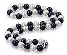 Hexi 8mm White And Black Freshwater Pearl Necklace - $35.41