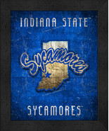 """Indiana State Sycamores """"Retro College Logo Map"""" 13x16 Framed Print  - $39.95"""