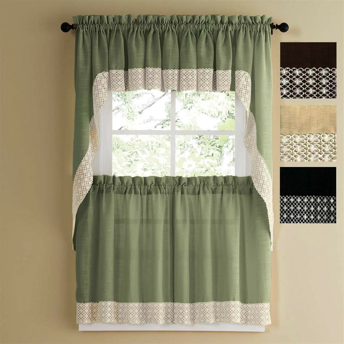 Primary image for SALEM SOLID COLOR TIER CURTAIN and SWAG TOP WITH WHITE DAISY LACE TRIM